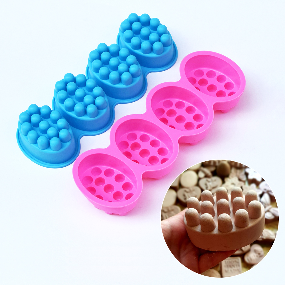 4 Compartment Silicone Soap Mold Massage Bar Soap making Tool With Single-hole Moulds title=