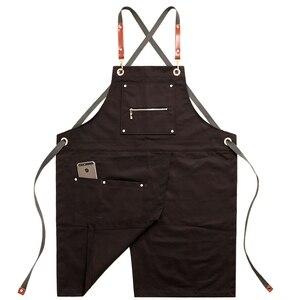 Image 2 - 2020 Fashion Unisex Apron Coffee Shop Working Apron Cooking Antifouling Aprons Work Clothing Sleeveless Style Work Wear