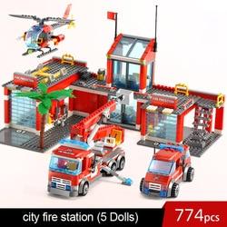 774pcs legoINGlys city fire 60110 with fire car fire airport fire mech fire station fire boat 60109
