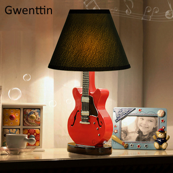 Cartoon Guitar Table Lamps Modern Led Stand Desk Light Fixtures Standing Lights for Children's Room Bedroom Bedside Study Lamp