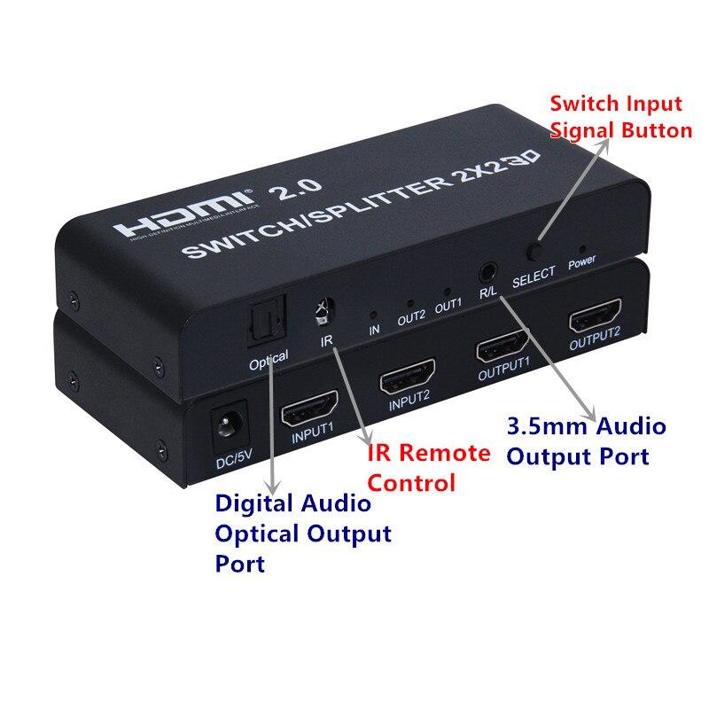 HDMI2.0 commutateur de répartiteur 2x2 adaptateur connecteur femelle 4 K/60Hz, fendu/commutateur 2xHDMI à 2 xmoniteurs pour HDTV CCTV pièces livraison gratuite