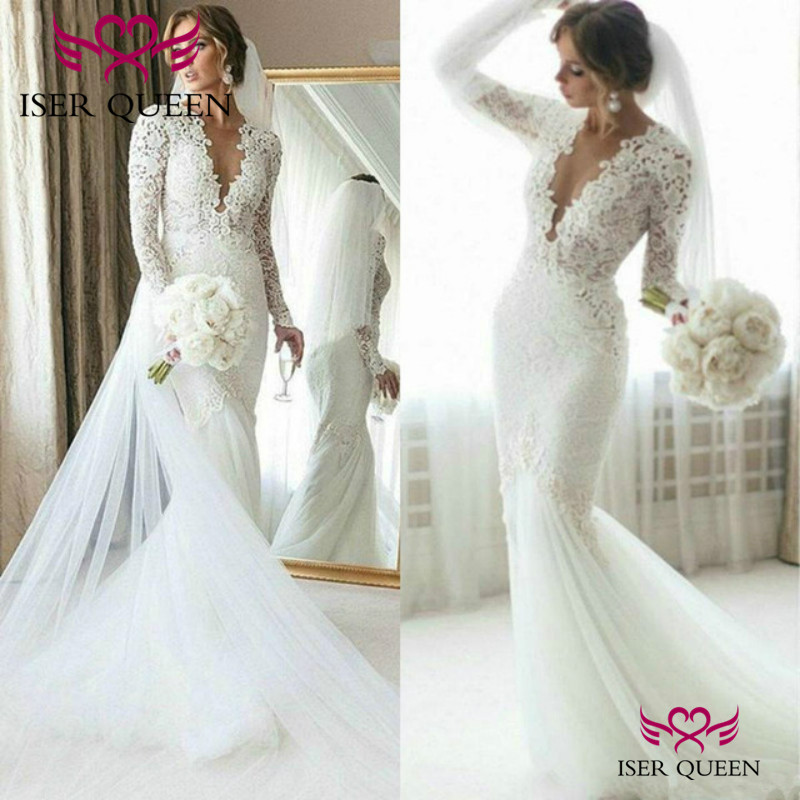 Deep V-neck Embroidery Vintage Long Sleeves Mermaid Wedding Dresses Elegant Pure White свадебные платья European Stylish W0673