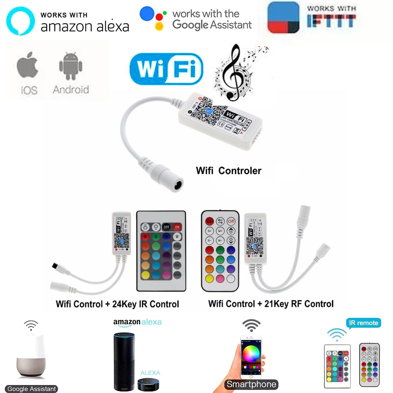 Magic Home Bluetooth Wifi RGB RGBW LED Strip Controller Smartphone APP Control RF / IR Remote Alexa Google Voice Control DC12V