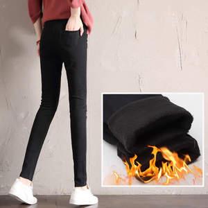 Image 5 - Autumn Winter Plus Velvet Thick Women Leggings Long Trousers Pencil Pants White Black Stretch Skinny High Waist Leggings C5782