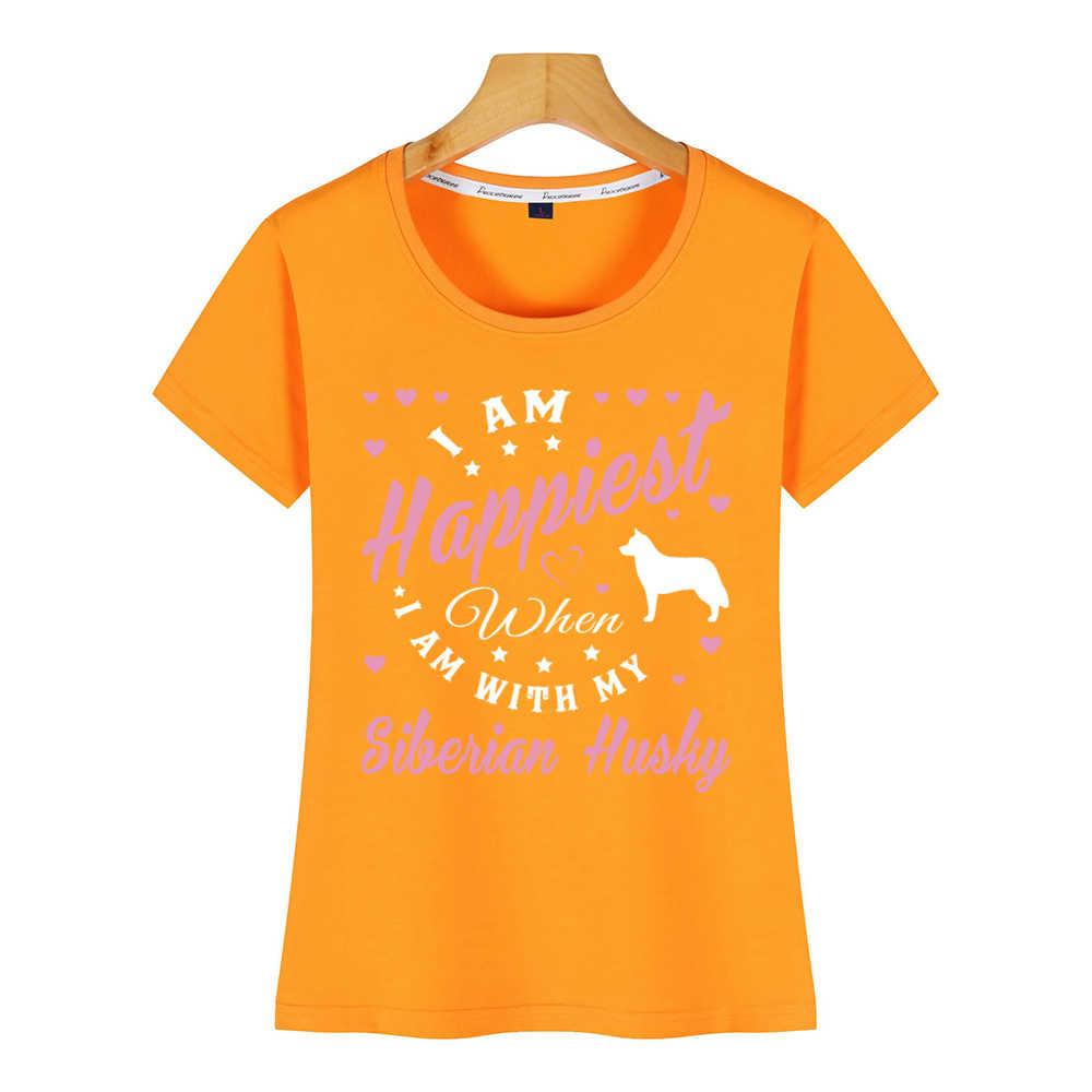 Topy T Shirt kobiety siberian husky Fashion biały nadruk koszulka damska