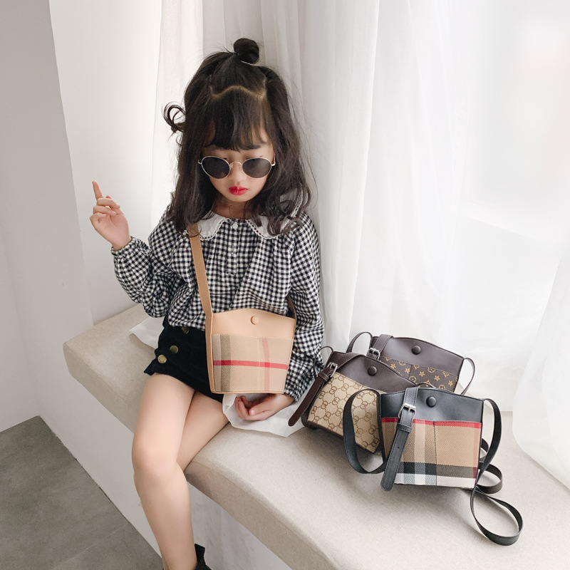 2020 New Style Children's Bags Korean-style Men And Women Child Baby Shoulder Bucket Bag Fashion Plaid Accessories Purse