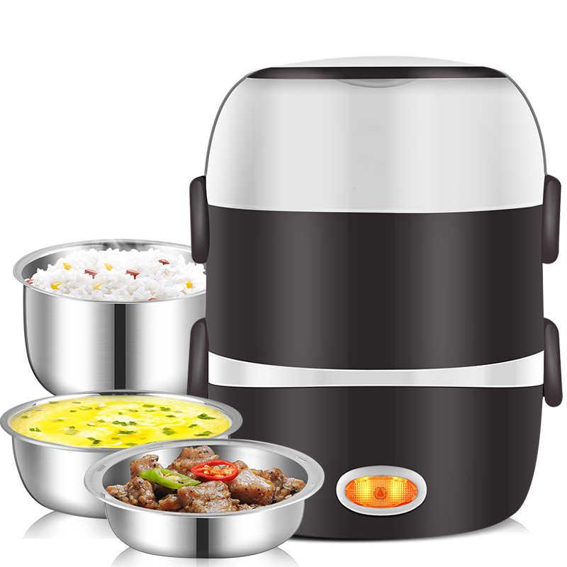 Mini elektryczne urządzenie do gotowania ryżu ze stali nierdzewnej 2/3 warstwy parowiec przenośny posiłek termiczne pudełko na drugie śniadanie z możliwością podgrzewania pojemnik na jedzenie cieplej