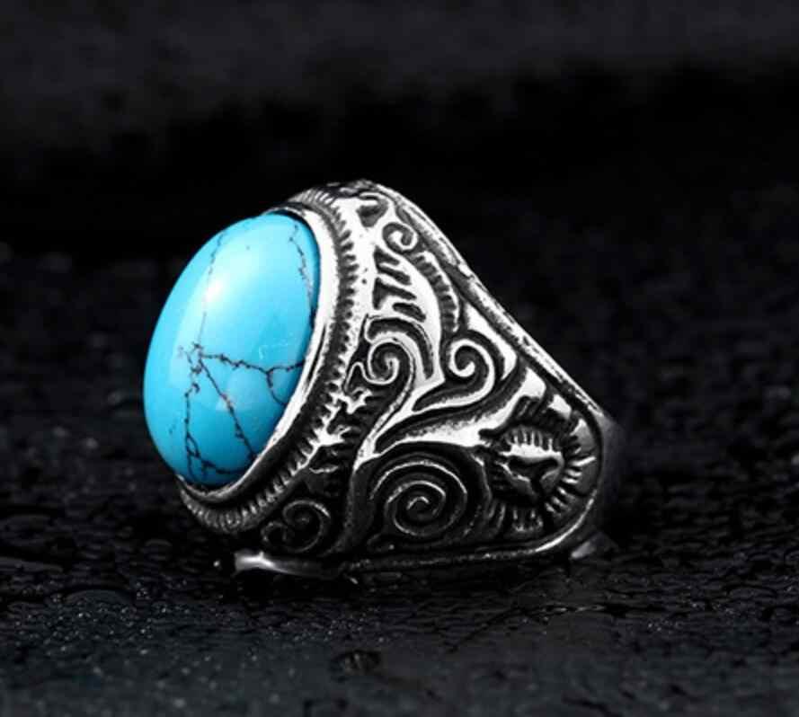 สเตนเลสผู้ชายหินธรรมชาติแหวน Domineering Punk หินธรรมชาติแหวนแหวน