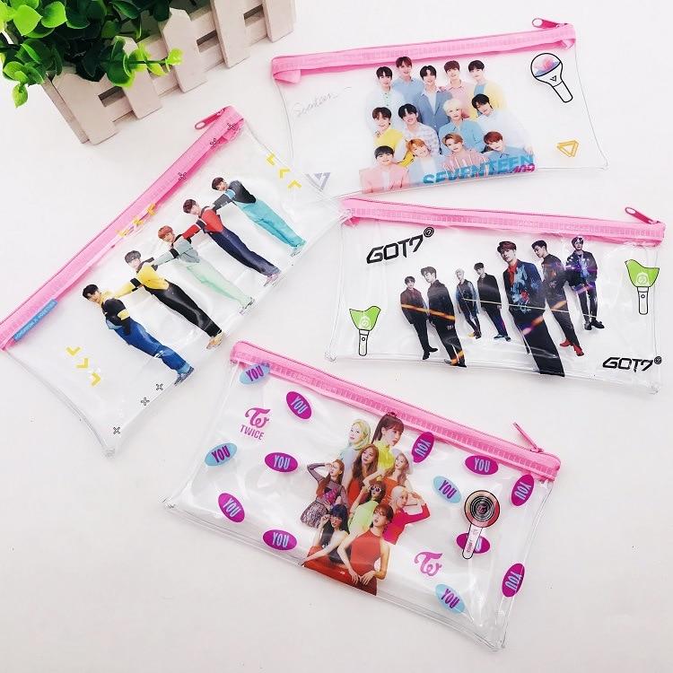Fashion Kpop Transparent Pencil Case Bangtan Boys Blackpink GOT7 SEVENTEEN TXT TWICE Kpop PVC Pink Pencil Case New Arrivals
