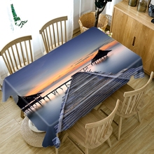 3D Bamboo Bridge Pattern Sunset Seascape Tablecloth Thicken Cotton Rectangular/Round Table Cloth for Wedding Picnic Party