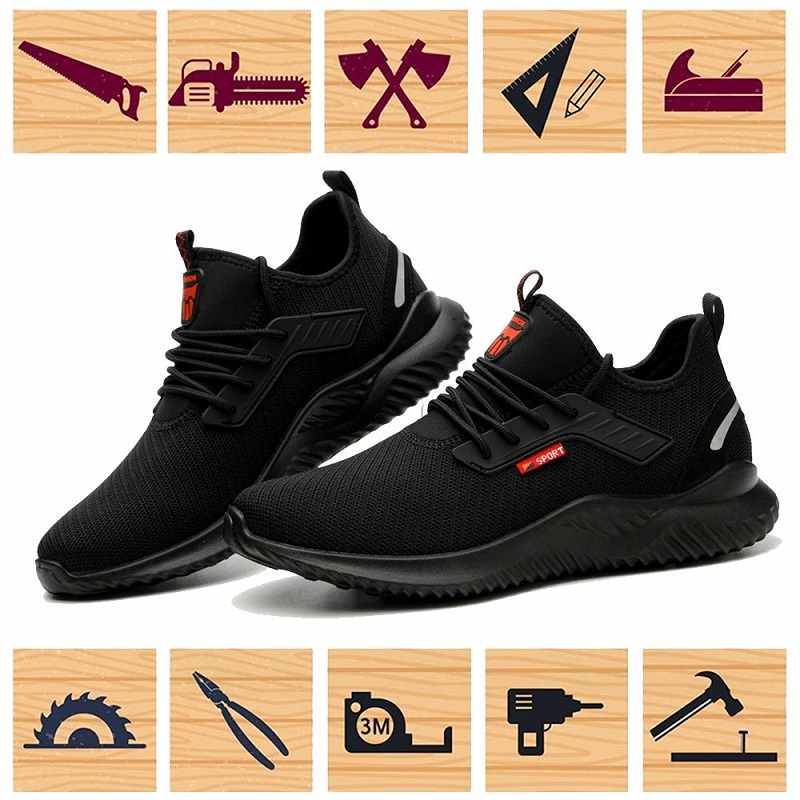 JACKSHIBO All Season Safety Work Shoes Boots For Men Anti-Smashing Steel Toe Cap Shoes Indestructible Safety Boots Work Sneakers 5