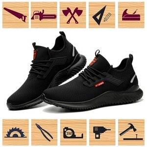 Image 5 - JACKSHIBO כל עונה בטיחות לעבוד נעלי מגפי גברים אנטי לנפץ פלדת כובע הבוהן נעלי בלתי ניתן להריסה בטיחות מגפי עבודה סניקרס