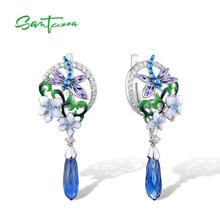 Женские серебряные серьги SANTUZZA из стерлингового серебра 925 пробы с изысканным цветком стрекозы, модные ювелирные изделия ручной работы с эмалью
