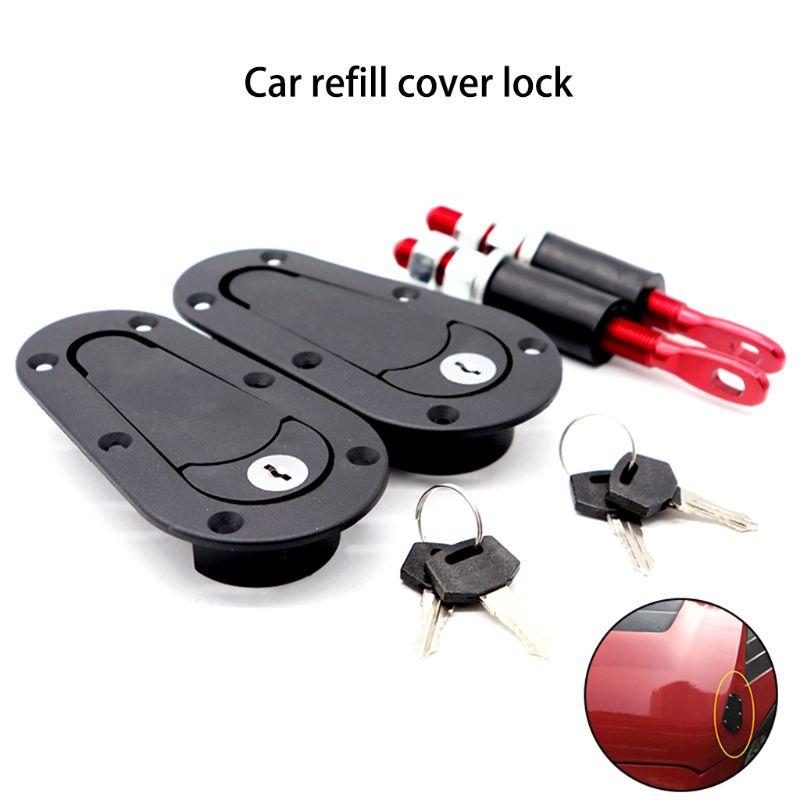 Racing Car Carbon Fiber Color Hood Pin Plus Flush Mount latch Kit Lock With Keys