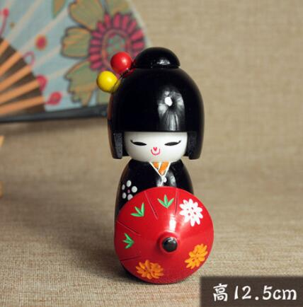 1pcs New Cute Handmade Oriental Japanese Kokeshi Doll With Umbrella Wooden Dolls Size 12.5cm