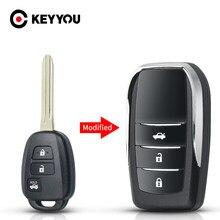 Keyyou toy43 lâmina modificado flip dobrável remoto chave escudo para toyota reiz corolla camry rav 2014 2015 2/3/4 botões fob caso do carro
