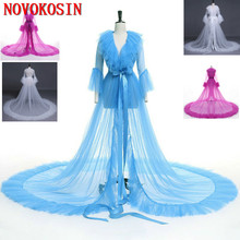 2020 New Long Sleeves Bridal Dress Cloak Tulle Pregnant Woman Shawl Party Stage Catwalk Photographic Portrait Tulle Cloak 2020 new bridal dress cloak tulle princess proof shawl party stage catwalk photographic portrait tulle cloak