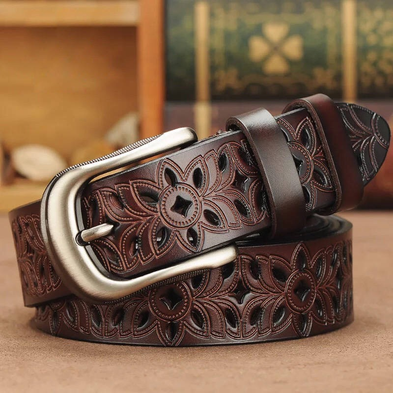 Belts Jeans Vintage-Pin-Buckle-Strap Cowskin Genuine-Leather Women for Second-Layer title=