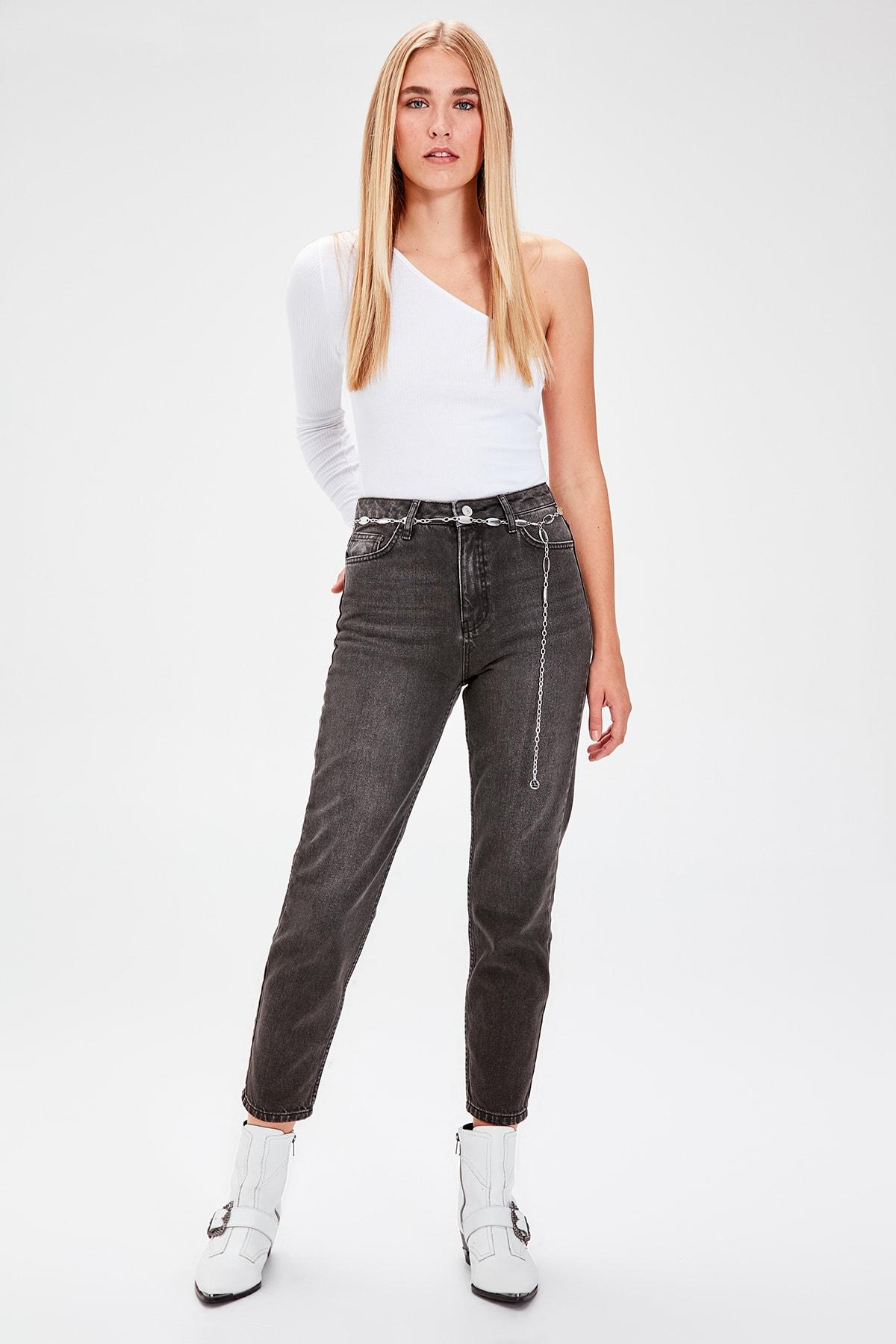 Trendyol Anthracite High Bel Mom Jeans TWOAW20JE0129