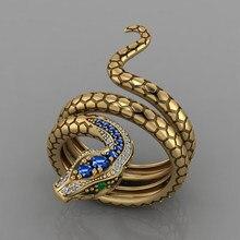 Huitan – bague serpent créative pour femmes, couleur or, oeil vert, Punk, Style hip hop, fête, personnalité, Cool, cadeau pour filles, bijoux à la mode