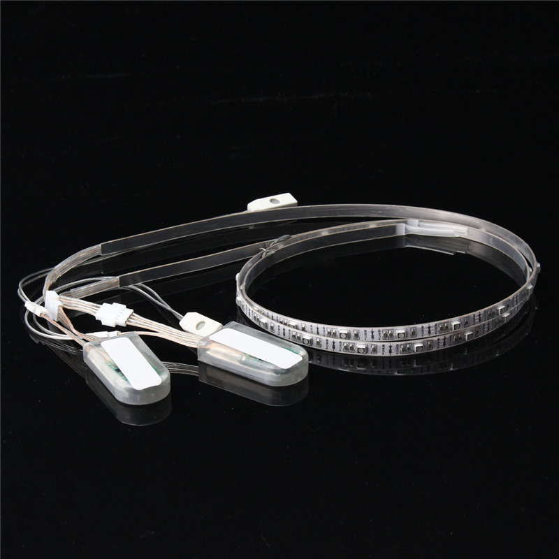 2pcs/lot 24 RGB LED Strip Light Battery Power 3528 SMD USB Changing Colorful LED Strip For Shoes DIY Lighting IP67 Waterproof