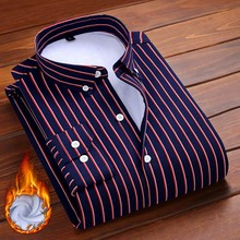 Aoliwen 2019 men Winter shirt keep warm striped mens long sleeve shirts Wool lining Flannel casual soft high quality