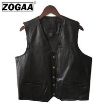ZOGAA Mens Waistcoat Black Biker Vest Genuine Leather Motorcycle Rock Sleeveless Jacket Male Autumn Plus Size Clothing 4XL Men