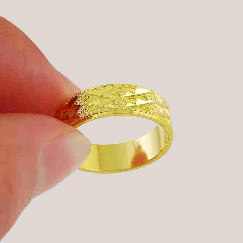 Nouveau 24K GP femmes bijoux plaqué or mariage mâle anneau gravé décontracté fleur mode doigt anneau hommes cadeau
