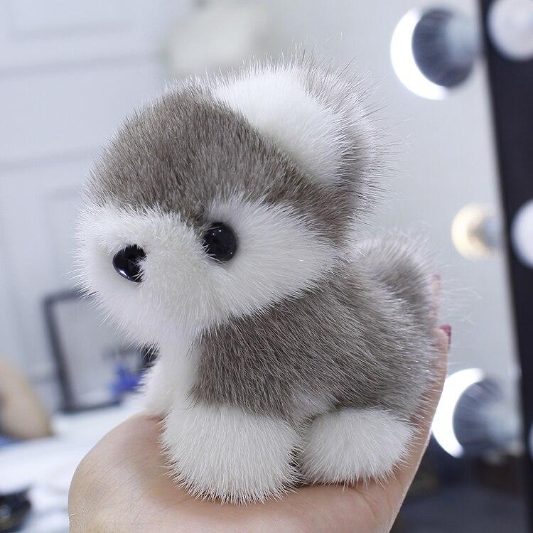 Whole leather mink fur puppy doll pendant cute bag pendant furry car ornament key chain