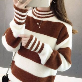 Fashion Half Turtleneck Sweater Women Loose Casual Striped Patchwork Pullovers Female Autumn and Winter Faux Mink Cashmere Top turtleneck pullovers loose basic sweater autumn and winter tops solid cashmere sweater women loose thick mink cashmere sweater