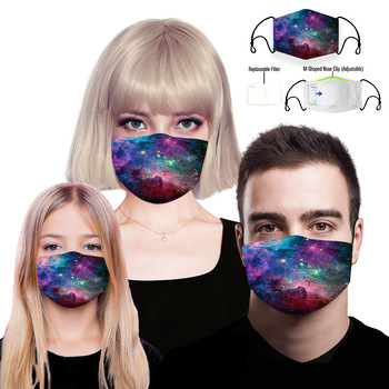 Space Galaxy Printing mouth Mask Reusable Protective PM2.5 Filter Paper Mask anti dust Face mask bacteria proof Flu Mask