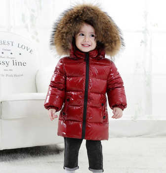Children Down Jacket for Boys 2018 Russia Winter Raccoon Fur Collar Kids 1-6Y Warm Outwear Snow Coat for Girls Hooded Snowsuit - DISCOUNT ITEM  40% OFF All Category