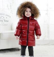 Dziecięca puchowa kurtka dla chłopców 2018 rosja zimowy kołnierz z futra szopa dla dzieci 1 6Y ciepła odzież wierzchnia płaszcz na śnieg dla dziewczynek z kapturem Snowsuit
