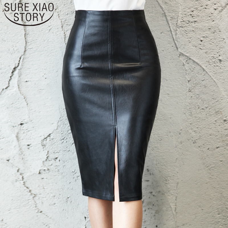 Autumn Faldas Mujer 2019 Fashion Plus Size Solid Black <font><b>5xl</b></font> <font><b>Skirts</b></font> Women PU Leather Midi <font><b>Skirt</b></font> Ladies <font><b>Sexy</b></font> Pencil <font><b>Skirt</b></font> 7644 50 image