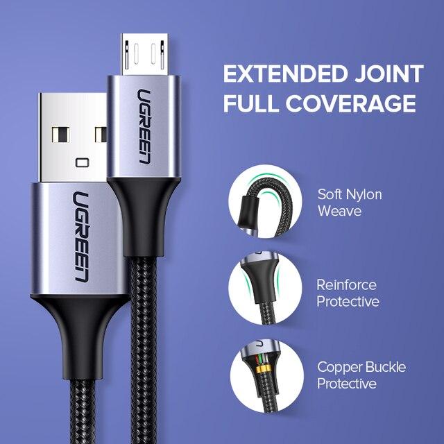Ugreen Micro USB kabel 3A Nylon szybkie ładowanie USB kabel danych dla Samsung Xiaomi LG Tablet Android telefon komórkowy USB przewód ładowania