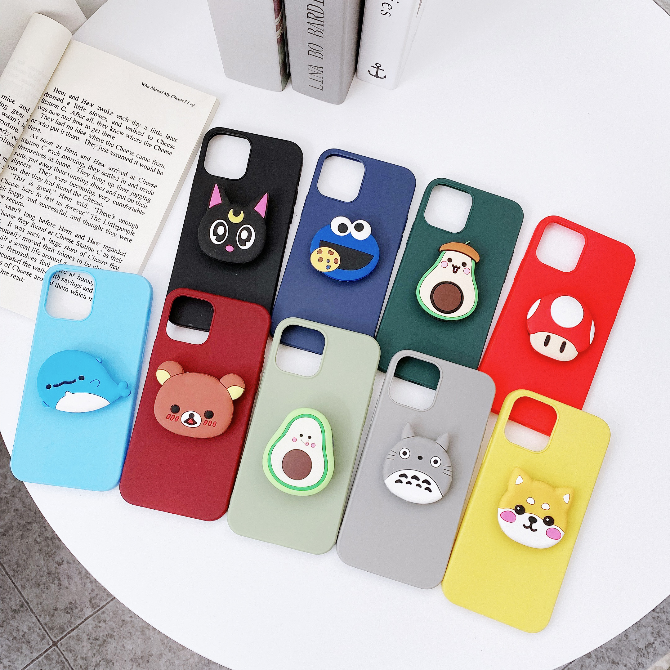 3D Silicone Cartoon Phone Holder Case For Iphone 12 Mini 11 Pro Max For Iphone X XS XR Max 6 7 8 Plus 6S 5S SE 2020 Stand Cover