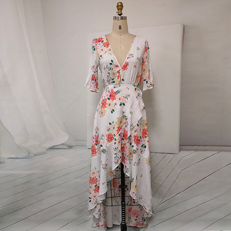 V-Neck Asymmetric Half Sleeve High Low Dress Long Party Evening Dinner Casual Women Floral Big Plus Size Maxi Dress Female