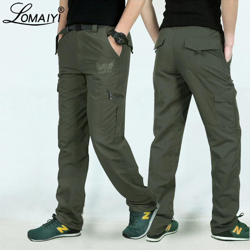 LOMAIYI Men's Summer Cargo Pants Military Style Quick Dry Trousers For Men Army Green Black Casual Pants With Pockets AM005