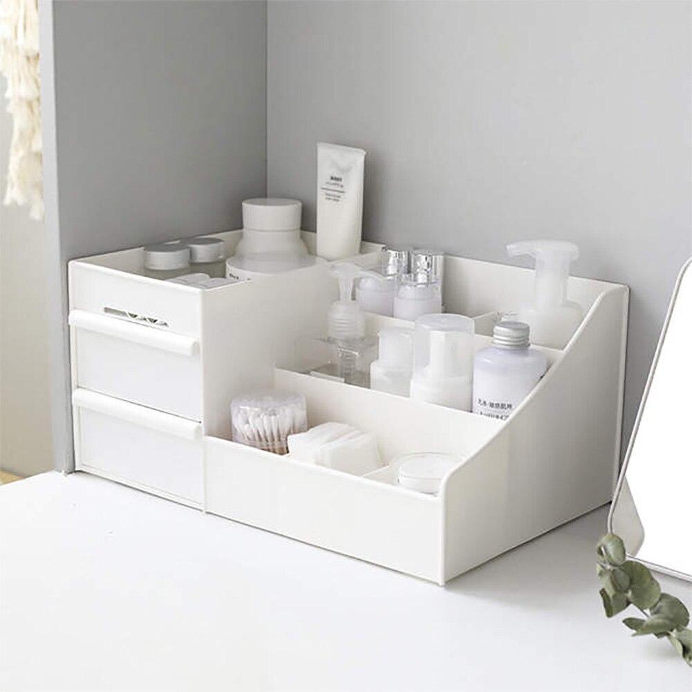 Organizer Make Up Storage Plastic Box Wooden Large Capacity Cosmetic Storage Drawer Makeup Dressing Table Skin Care Rack Swabs