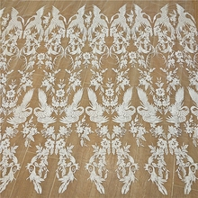 High-end mesh yarn crane crane embroidery lace fabric fabric wedding dress lace DIY production materials white lace evening gown