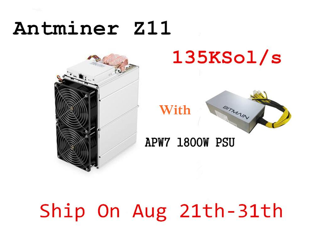 In Stock ZEC Miner Antminer Z11 135k Sol/s 1418W With BITMAIN 1800W PSU Better Than Innosilicon A9 Antminer S9 S11 S15  T15 Z9