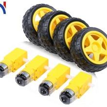 Электрический двигатель постоянного тока с пластиковой игрушкой, колесо для автомобильных шин, 3-6 в, двойной вал, мотор, ТТ, магнитный редуктор, двигатель для Arduino, Diy Kit
