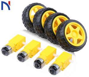 DC Electric Motor with Plastic Toy Car Tire Wheel 3-6V Dual Shaft Geared TT Magnetic Gearbox Engine for Arduino Diy Kit(China)