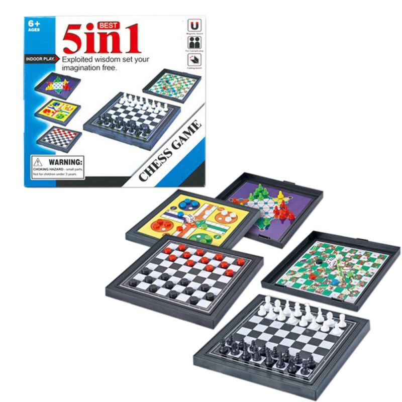 5 In 1 Chessmen Checkers Magnetic Board Game Flying Chess Kids Classic Flying Puzzle Game Set