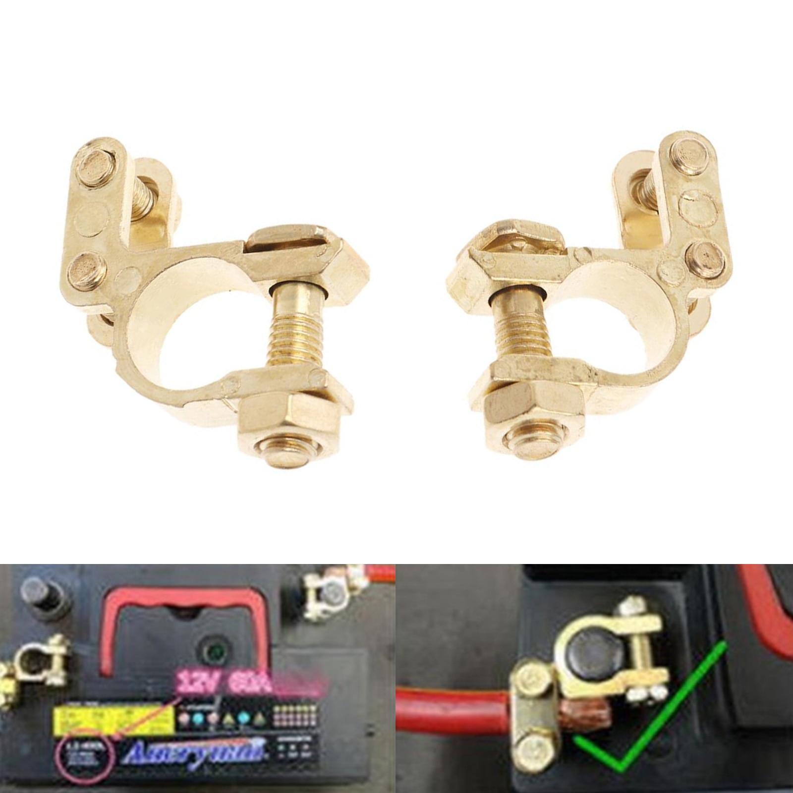2pcs Small Size 35mm Car Battery Terminals Clamps Pair Screw Connection Positive&Negative Brass Cables Connectors Accessories