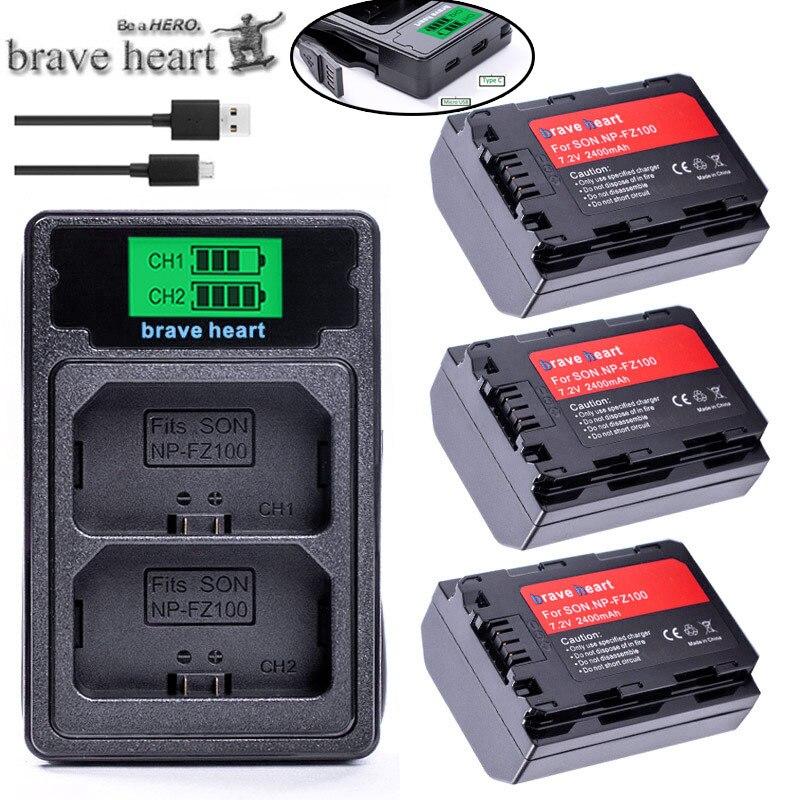 NP-FZ100 NPFZ100 NP FZ100 NP FZ100 Battery + LCD Dual USB Charger For Sony NP-FZ100, BC-QZ1, Sony A9, A7R III, A7 III, ILCE-9