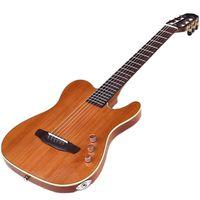 Okoume-guitarra clásica silenciosa de cuerpo fino, instrumento musical de 39 pulgadas de alto grado, 22 trastes, madera sólida, madera roja, parte trasera y lateral