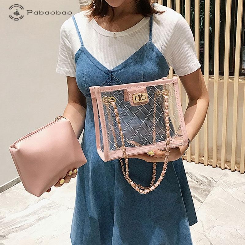 Pabaobao Transparent Pouch Tote bags for women 2019 Clear Handbag Crossbody Composite Bag bolsa feminina sac main femme