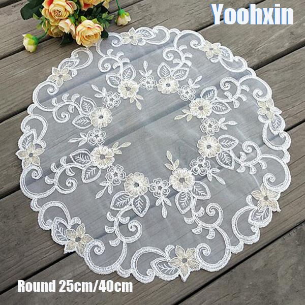 Hot White Lace Mesh Embroidery Table Place Mat Christmas Round Pad