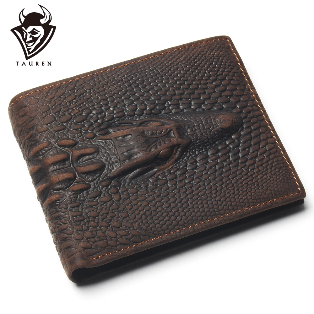 Top Grain Genuine Leather Material Wallet With Card Page Fashion Brown Crocodile Head Men Wallet Crazy Horse Wallet For Men